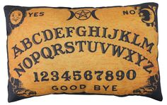 Ouija / Spirit Board Pillow > Printed fabric > Approximately tall x wide > Black on back > Washable and dry-cleanable but we recommend hand-washing with a neutral detergent in cold water. No hard scrubbing. Horror Room, Horror House, Horror Decor, Ouija, Room Themes, Home Theater, Theatre, Halloween Decorations, Halloween Ideas