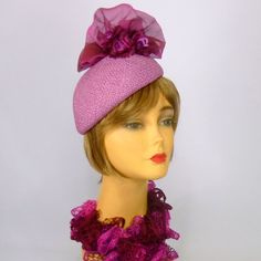 Orchid and Rose Violet Straw Fascinator Hat by NouveauHatsbySharon