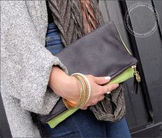 Modern Two-Tone, Fold-Over Clutch in Faux Leather: Janome Skyline S7 | Sew4Home