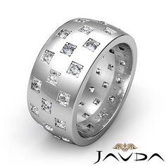 Mens Eternity Wedding Band 18k White Gold Round Diamond 9.4mm Solid Ring 1.35Ct #Javda #WithDiamonds