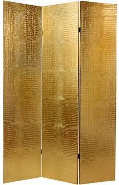 Gold room divider gets attention as a decorative accent. Oriental Furniture 6' Faux Leather Gold Crocodile Room Divider