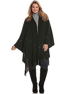 """Wrap With Faux Leather Trim (one-size-fits-all): Fashion-forward layering to warm up any ensemble, this cozy wrap gets a trendy touch from faux leather trim & a fringe border. - Item #213351, acrylic, hand wash, imported, dimensions 50""""x72"""" [Too bad its sold out :( I have the boots to go with.]"""
