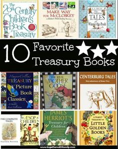 We love treasury books here! There is just something special about having one big book of favorites! Perfect to take on vacation or to have in your children's library! Here are our favorites!!