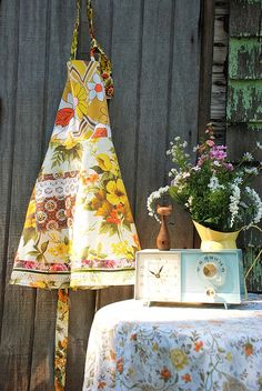 Patchwork apron out of vintage fabrics