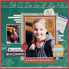 Back to school scrapbook layout School Scrapbook Layouts, Kids Scrapbook, Scrapbook Sketches, Scrapbooking Layouts, Scrapbook Cards, Digital Scrapbooking, Scrapbook Examples, School Days, Back To School