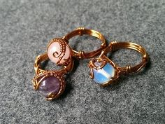 Tutorial rings with spherical stones - How to make wire jewelery