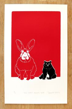 Huge Rabbit, Normal Bear - Limited edition, hand-pulled screen print of a rabbit and bear and their relationship, red, black, white. $30.00, via Etsy.