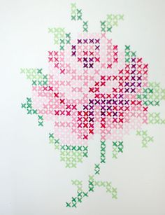 Cross stich rose mural from wunderschön-gemacht: vintage teatime. Do this with wall paint or with washi tape. Maybe not a rose (and I don't know what washi tape is, but This would be cool wall decoration.