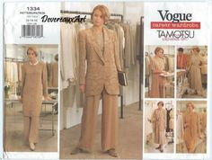 "1994  Vogue ""career Wardrobe- Tamotsu"" Pattern 1334 - UNCUT- Size 12-14-16 Misses' / Misses' Petite Jacket, Dress, Top, Tunic, Skirt & Pants by Devereauxart on Etsy"