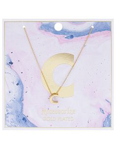 Add a uniquely personal touch to your outfit with this striking gold-plated initial necklace. The chic design features a letter C charm and comes in a lustro...