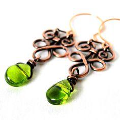 Wire Wrapped Jewelry, Copper Wire, Green Glass Drop Earrings. $23.00, via Etsy.