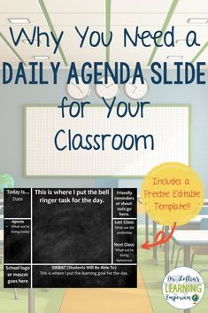 Classroom Management: Why you need a daily agenda slide for your classroom-Includes a Free Editable Template. Middle School Classroom, English Classroom, Middle School Science, 7th Grade Classroom, Middle School Supplies, Elementary Science Classroom, Middle School History, Social Studies Classroom, Middle School Reading
