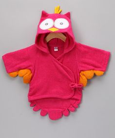 Pink Owl Terry Robe by Baby Aspen