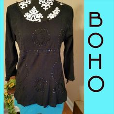 "Bohemian Style Open Arms Black boho/hippie style top. Embroidery and sequined embellishments cover the front of this wonderful top. The sleeves are slit to shoe full arm down to the wrist. Material is a cotton gauze like fabric with some stretch. In stretched measurements are: Bust 38""  Legnth from shoulder to bottom is 26""  Sleeves are 21""   J2A Mileage Tops"
