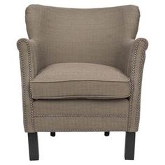 Birch wood arm chair with nailhead trim.   Product: ChairConstruction Material: Solid birch wood and linenColor: BrownFeatures:  Cushioned seating to provide the utmost comfortNailhead trimWill enhance any decor  Dimensions: 29.5 H x 26.5 W x 29 D