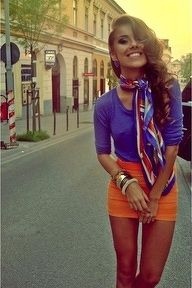 Not a fan of the overly-short skirt, but I do like the scarf.