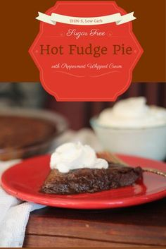 This Sugar Free Hot Fudge Pie is the sweet, fudgey, gooey, pie that chocolate dreams are made of and it's low carb, sugar free and THM friendly.