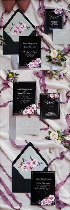 Wedding invitations, black paper suite, purple floral pattern, silver accents, modern romance // Autumn L. Rudolph Photography