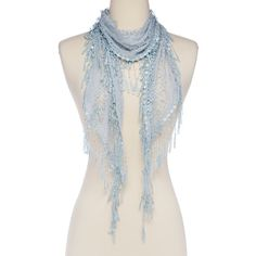 Italmode Baby Blue Lace Scarf ($9.99) ❤ liked on Polyvore featuring accessories, scarves, lacy shawl, lace scarves, lace shawl and lacy scarves