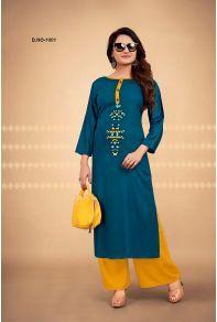 Bulk Office Wear Rayon Printed Kurtis With Palazzo Set. Lkfabkart provides kurti in cheap rates. Green Tops, Blue Tops, Indian Textiles, Office Wear, Kids Wear, Palazzo, Kurti, Designer Dresses, Menswear