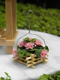 Miniature Dollhouse FAIRY GARDEN ~ Pink Geranium Flowers in Hanging Pot ~ NEW in Gnomes & Sprites | eBay