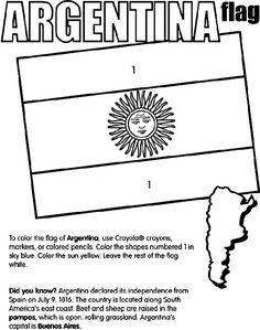 Argentina coloring page. Do this with ALL of the Spanish speaking countries and have the students keep them and then add facts to the back of each sheet.