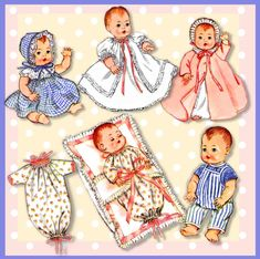 Baby Doll Clothes, Baby Dolls, Doll Toys, Doll Dress Patterns, Clay Baby, Doll Crafts, Cute Dolls, Vintage Sewing Patterns, Vintage Dolls
