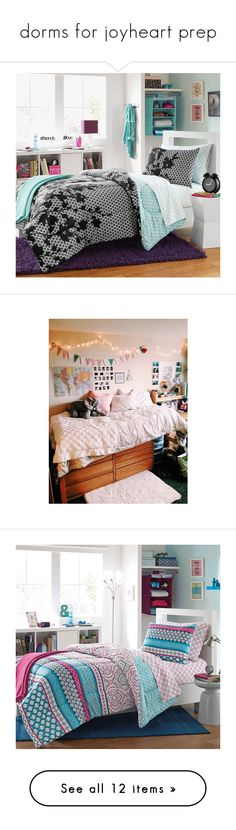 """""""dorms for joyheart prep"""" by thesparklycool-0 ❤ liked on Polyvore featuring home, bed & bath, bedding, comforters, black and white polka dot comforter, extra long twin comforter set, twin xl fitted sheet, black and white comforter, twin xl comforter set and home decor"""