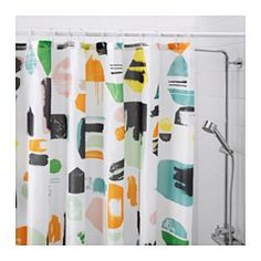 IKEA - DOFTKLINT, Shower curtain, , Densely-woven polyester fabric with water-repellent coating.The elastic sewn into the bottom edge adds weight to the curtain and assures that it hangs straight.