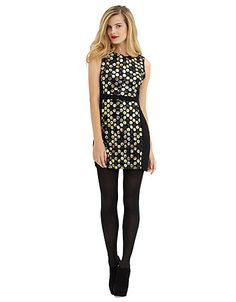 Sleeveless Sheath Dress with Metallic Dot Sequin Accents