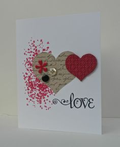 Beautiful, simple, elegant Valentine/Wedding or Wedding Shower card. Gorgeous Grunge, Flower Punch, Heart Punches.