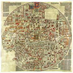 The Ebstorf Map is an example of a mappa mundi (a Medieval European map of the world) similar to the Hereford Map. It was made by Gervase of Ebstorf, who was possibly the same man as Gervase of Tilbury, some time in the thirteenth century. Early World Maps, Old World Maps, Old Maps, Antique World Map, Antique Maps, Hereford, European Map, World Map Poster, Vintage Maps