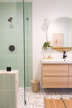 Our House: Guest Bathroom Remodel Reveal! - Sugar & Cloth As promised, I'm sharing our full guest bathroom remodel reveal! It's equal parts colorful, simple, and much more clean then the before photos. Guest Bathroom Remodel, Guest Bathrooms, Rustic Bathrooms, Bathroom Renovations, Modern Bathroom, Mint Bathroom, Colorful Bathroom, Relaxing Bathroom, Restroom Remodel