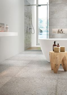 Classic Home Decor Modern Sink, Modern Bathroom, Bathroom Floor Tiles, Tile Floor, Metal Beam, Modern Flooring, Wood Backsplash, Terrazzo Flooring, Classic Home Decor