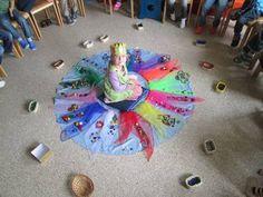 mit Kett Tüchern und Legematerial die Geburtstagsfeier gestalten, jedes Kind berichtet über die Wünsche , die es für das Geburtstagskind hat und legt ihm ein Bild mit dem Legematerial...wunderschön und ruhebringend...