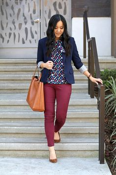 Putting Me Together: Navy printed blouse+burgundy pants+brown suede pumps+navy blazer+cognac tote bag. Spring Business Casual Outfit 2017 https://twitter.com/gaefaefagaea4/status/895099552956416000 #Blazers