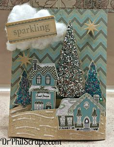 3D Card made using Christmas Village Stamp set from CTMH - http://DrPhilScraps.com