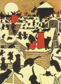 Edwardian Christmas card. Black cats on rooftops.