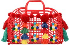 Shop PVC Tote with Embroidery. Dolce & Gabbana's rectangular red tote is crafted with a PVC cage silhouette adorned with colored pom-pom details. Craft Stick Crafts, Diy Crafts, Easter Crafts For Kids, Crochet Patterns For Beginners, Crafty, Christmas Ornaments, Holiday Decor, Pomeranian, Pom Poms