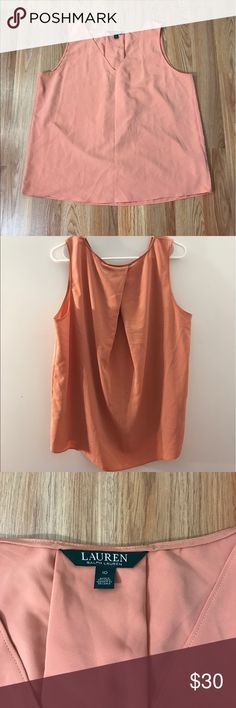 Lauren by Ralph Lauren top Beautiful sleeveless top in a salmon color . Size 10 . Very versatile . Can be worn with jeans , shorts, pant suit , and casual fancy skirts . You can go from business to casual in a second with this top. Lauren Ralph Lauren Tops Blouses