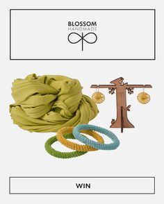 Win with Hello Pretty and Blossom Handmade! An amazing prize, including a lime T-shirt necklace valued, a custard yellow set of Ring Ring Bling Blossoms earrings and three Ring Ring Bling Spiral Bangles in lime green, custard yellow, and baby blue - enter at http://hellopretty.co.za
