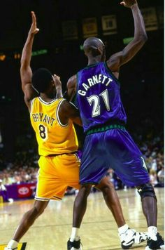A young Kobe Bryant and Kevin Garnett fight for post position in L.A.