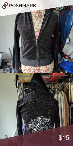 Juicy Couture velour hoodie Pre loved zip up hoodie. Size Large but runs small.  Has detailed sparkly design on back. Juicy Couture Tops Sweatshirts & Hoodies