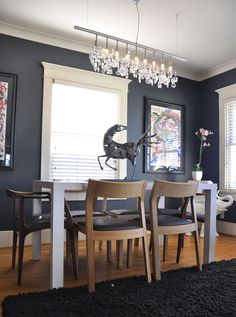 contemporary craftsman dining room Decor Ideas For Craftsman Style Homes other Love this wall color! Dining Room Paint Colors, Dining Room Walls, Dining Room Lighting, Dining Room Design, Room Chairs, Wall Colors, Craftsman Dining Room, Craftsman Home Interiors, Craftsman Style Homes