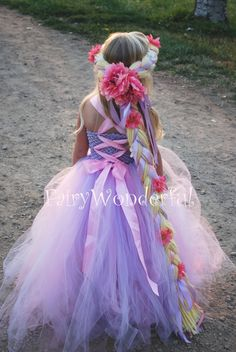 back picture Rapunzel Inspired Tutu Dress  I like the braided head band instead of a complete wig...