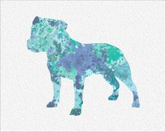 Staffordshire Bull Terrier Watercolor by ImageDeSignStudio on Etsy, $25.00
