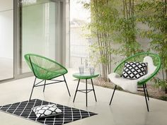 Beliani Garden Furniture - Patio Set - Outdoor Bistro Set - Table and 2 Chairs - Green - Acapulco 3 Piece Bistro Set, 3 Piece Dining Set, Dining Sets, Patio Bar Set, Patio Sets, Patio Furniture Sets, Garden Furniture, Furniture Ideas, Outdoor Dining Set