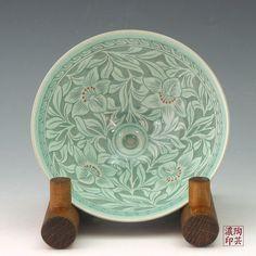 Korean Celadon Porcelain  Tea Bowl with Inlaid Celadon Green Pottery Orchid Design - Antique Alive