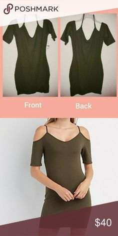 Cold Shoulder Dress Beautiful olive green, off shoulder, strap, Bodycon Charlotte Russe Dresses Mini