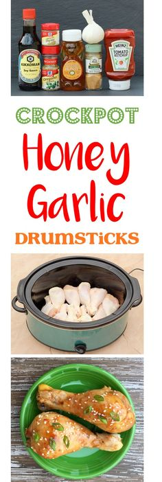 Crockpot Honey Garlic Chicken Drumsticks Recipe!  This crave-worthy Crock Pot chicken dish is here to infuse some delicious new flavors into your weeknight dinners.  Kid and hubby approved!   TheFrugalGirls.com